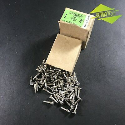"75 VINTAGE NETTLEFOLDS 1/2"" x 4g SLOTTED RAISED HEAD STEEL WOOD SCREWS HARDWARE"
