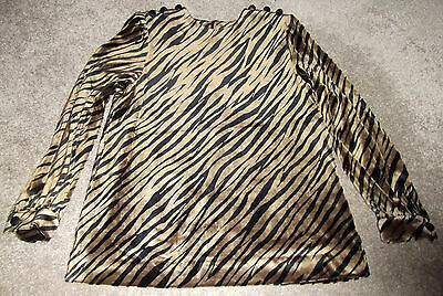 Velour Tiger Animal Print Top Vtg Interview Lucky Co Tokyo Japan Blouse Size S
