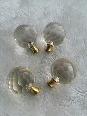 Rare Antique Clear Glass Furniture Cabinet Door Drawer Pull Knobs Set of 4