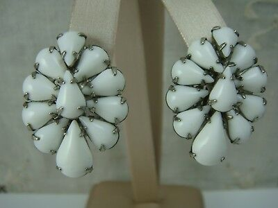 Vintage White Milk Glass Silver Tone Pear Cabochon Oval 1950's Clip Earrings