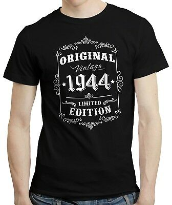 75th Birthday, Born in 1944 Retro Style Vintage Limited Edition T-shirt Tee Top