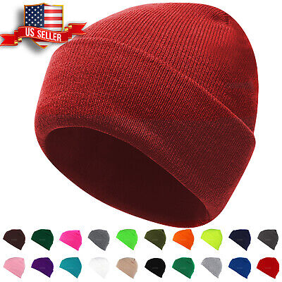 751903d0c996b0 Beanie Hat Mens Womens Plain Knit Ski Cap Warm Slouchy Skull Winter Cuff  Thermal