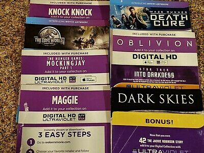 Digital Movie Codes NO Blu-Ray OR DVD Disc PLEASE READ BELOW $4.50 each