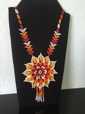 Mexican Huichol, Necklace, Art Beaded Adjustable Jewelry Hand Made N-028