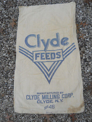 Vintage CLYDE FEEDS Cloth Feed Seed Sack-Clyde Milling Corp. Clyde, NY