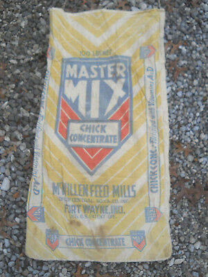 Vtg MASTER MIX CHICK CONCENTRATE Cloth Feed Seed Sack-McMillen-Fort Wayne IN