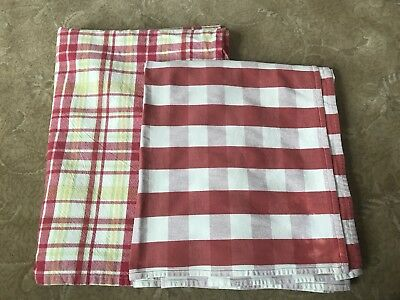 Vintage Tablecloths/ Red and White Gingham / Pink Yellow Green Plaid