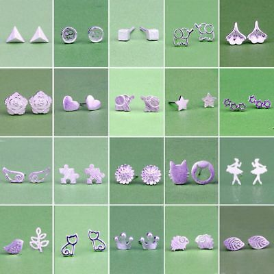 New Fashion Women Girl Sterling Silver Earrings Cute Ear Stud Jewelry Gifts 2019