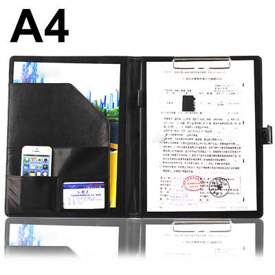 New A4 Executive Conference Folder & Clipboard PU Document - Mens Business Gift.