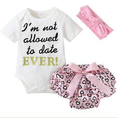UK Newborn Baby Girl Romper Top Jumpsuit Tutu Pants Headband Outfits Clothes Set