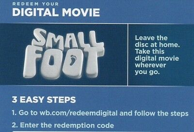 Small Foot (DIGITAL CODE/2018) ****BRAND NEW**** Same day e-mail