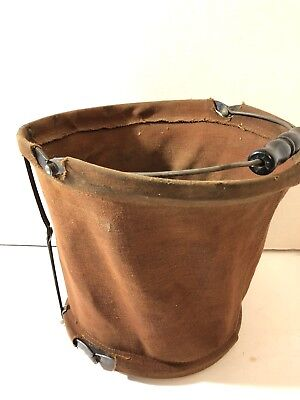 Vintage / Antique Collapsible Canvas Water Bucket Pail Automotive? Military?