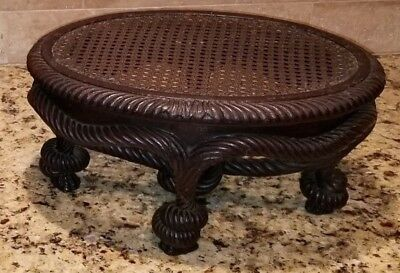Rare and Unusual Footstool Victorian Walnut Rope Knot original condition. Unique