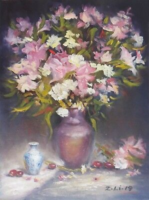 "Original Oil Painting Still Life Realism Floral in Pink Vase W Fruit 11x14"" Z.Li"