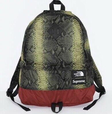 fcd4f08782 Supreme X The North Face Snakeskin Backpack Day Pack Green TNF Snake Bag  Outdoor