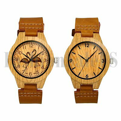Luxury Womens Imitated Wood Grain Watch Quartz Leather Wristwatches Fashion Gift