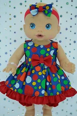 "Play n Wear Doll Clothes To Fit 13"" Baby Alive DOT DRESS~BLOOMERS~HEADBAND"