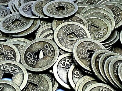 100 X Feng Shui Chance Argent I Ching Pièces Richesse 24mm Chinois Dynastie