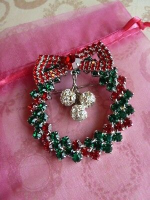 "Rhinestone CHRISTMAS WREATH Brooch Holiday Pin 2"" Swarovsky"