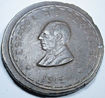 Mexico Revolution Double Profile 1915 Oaxaca 20 Centavos Antique Mexican Coin