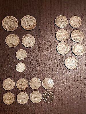 "Lot of 21 Venezuela coins: 6 SILVER ""BOLIVARES"" coins from 1920-40s. *LOOK!*"