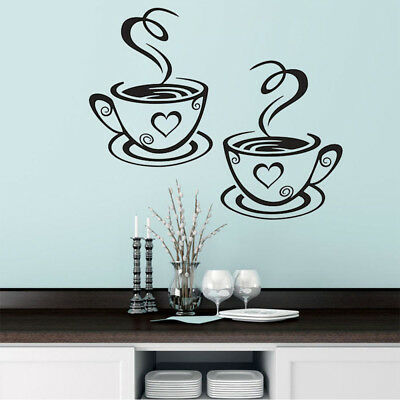 Trendy Coffee Cups Cafe Tea Wall Stickers Art Vinyl Decal For Kitchen Home Decor