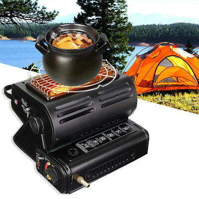 Outdoor 2 in 1 1.3KW Camping Portable Gas Heater Cooker Indoor Butane Stove BBQ