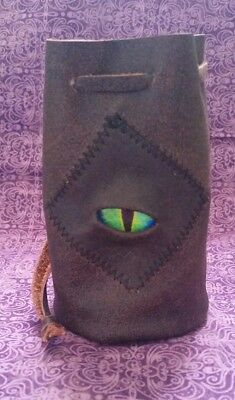 leather dice coin bag pouch medieval renaissance drawstring cylinder Monster Eye