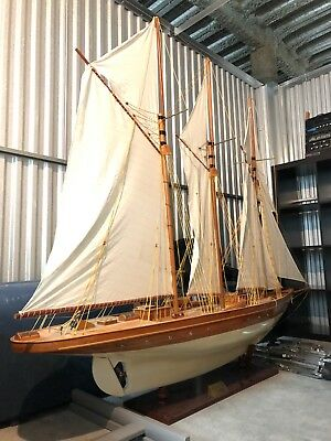 """""""Atlantic 1903"""" Classic Sailing Yacht Large Wood Model Ship (Assembled/On Stand)"""