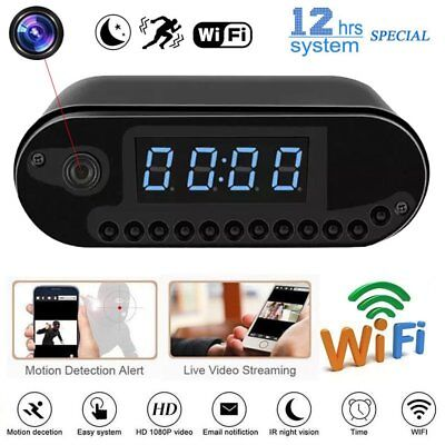 HD 1080P Wireless WIFI IP Mini Hidden Video Camera Spy Alarm Clock Security Cam