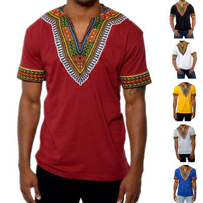 Men Casual African Style Shirts Dashiki Ethnic Print Long Sleeve Blouse Tops