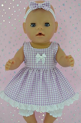 """Play n Wear Doll Clothes To Fit 17"""" Baby Born GINGHAM DRESS~BLOOMERS~HEADBAND"""