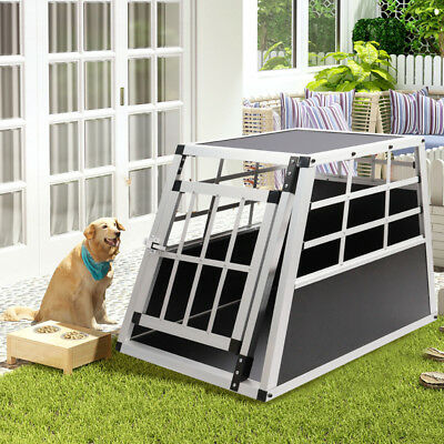 Aluminium Dog Pet Puppy Cage Kennel Travel Transport Crate Carrier Box Safe Door