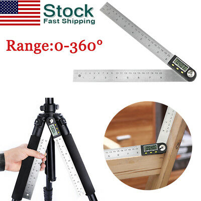 "0-360° Electronic Digital Angle Finder 8"" Protractor Ruler Stainless LCD 200mm"