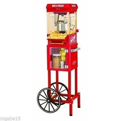 POPCORN MACHINE MAKER Popper Cart Home Movie Theater Room VINTAGE STYLE Stand