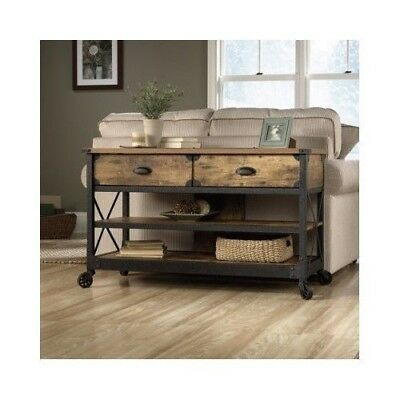 INDUSTRIAL RUSTIC TABLE Media Console ANTIQUE FURNITURE Sofa Vintage Side WHEELS
