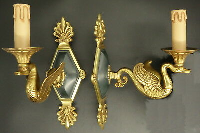 Pair Of Sconces, Swans, Empire Style - Petitot France - Bronze - French Antique