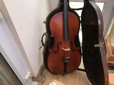 old musical instrument Full Sized Cello With Bow Cased