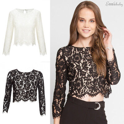 US Fashion Women's Lace Long Sleeve Crop Shirt Summer Casual Blouse Loose Tops