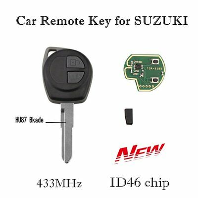 2 Button Car Key Remote Control Cover Case Fob For SUZUKI SWIFT SX4 ID46 Chip W2