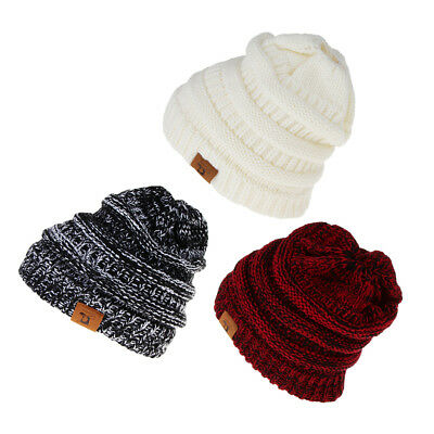 3PCS Women Stretch Knit Hat Hole for Ponytail Beanie Winter Outdoor Warm Hat