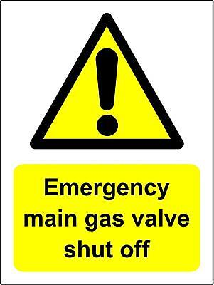 Emergency main gas valve shut off Safety sign