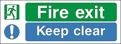 Escape route keep clear Fire exit keep clear safety sign