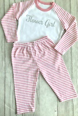 FLOWER GIRL WEDDING PYJAMAS, Pink and White PJs Silver Glitter Flower Girl, Love