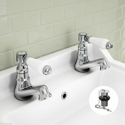 Bathroom Basin Sink Taps Ceramic Lever Victorian Traditional Hot & Cold Pair