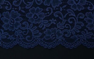 Fancy Floral Raised Silky Stretch Lace Dress Fabric Material (Midnight Blue)