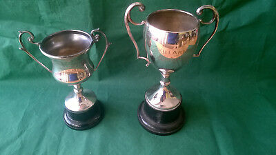 Two vintage silver plate trophies for GSH Killarney Ireland xmas 1956