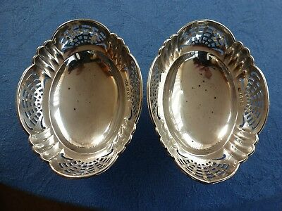 Pair of solid silver bon bon dishes birm 1919 J.G Ltd (bowl dish sweets)