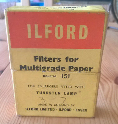 Ilford Filters for Multigrade Paper mounted 151 for Tungsten Lamp Enlargers