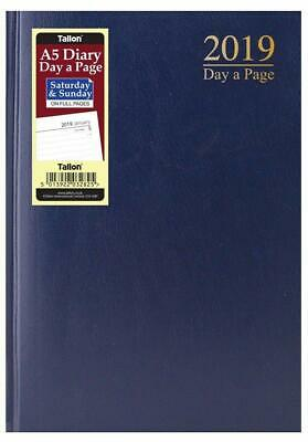 2019 Black A5 Diary Day A Page Diary Hardback Work Office Desk Day To Page Diary
